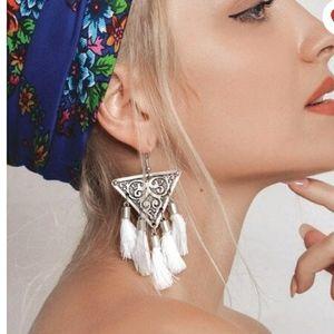 Silver gypsy boho tassel dangle earrings